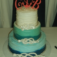 "3 Tier Round Ombre Cake This is a 12"", 8"" and 6"" buttercream frosted with graduating colors from dark blue to teal, lighter teal and cream."