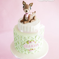 Pretty Spring Fawn Strawberry & vanilla sponge cake with cream cheese buttercream filling.