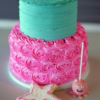"Pretty In Pink And Teal   A favorite from this weekend -- 6"" and 8"" tiered in butter cream with cake pops and matching cookies."
