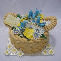 Spring Flower Basket Cake   I made this for a lovely 70 year old lady celebrating her birthday