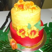 Hawaiian Birthday   This cake is was made to resemble a Hawaiian Sunset