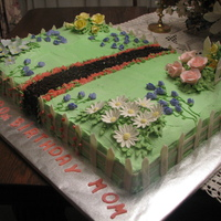 Flower Garden Birthday cake for Aunt's 80th Birthday who loves her flower garden.