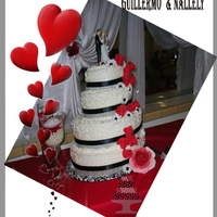 Black On White Wedding Cake This is a large cake. Feeds 250 people. Bride White cake with Cream Cheese filling and fresh raspberries.