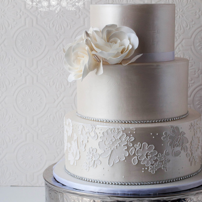 White Luster Wedding Cake