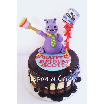 Gravity Defying Painting Hippo Topper Cake