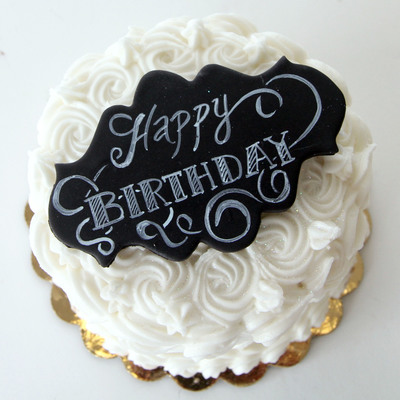 Simple Birthday Cake With Chalkboard Sign