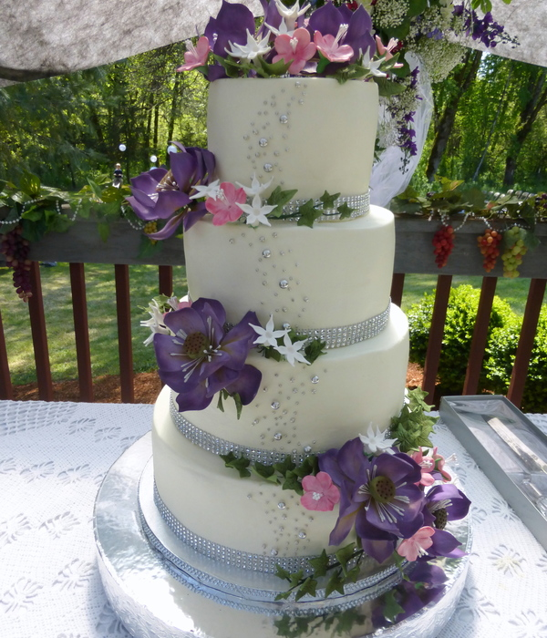 Lotus And Cherry Blossom Wedding Cake