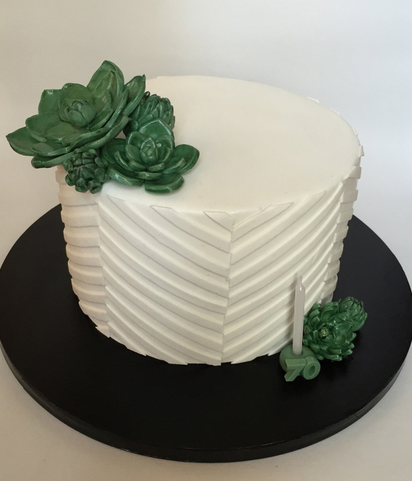 Simple Succulents White-On-White Cake