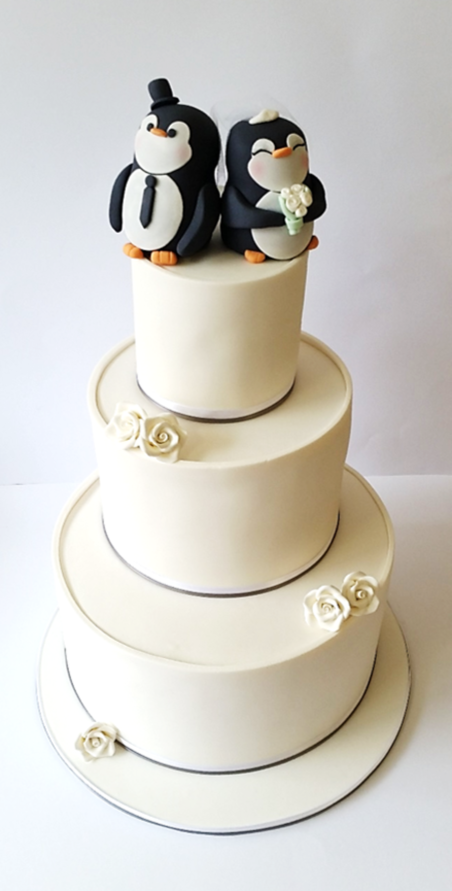 Wedding Cake With Hand Made Penguin Bride And Groom Toppers ...