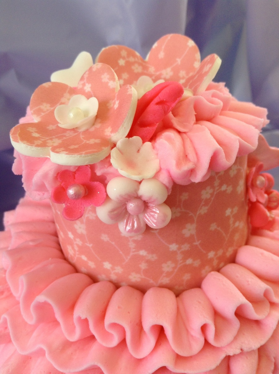 Pink Ruffle Buttercream And Fondant Cake on Cake Central