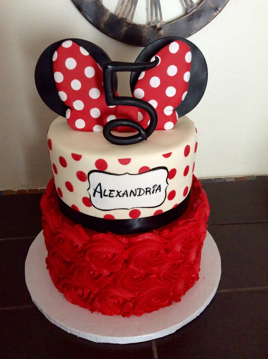 Black Red White Minnie Mouse Cake