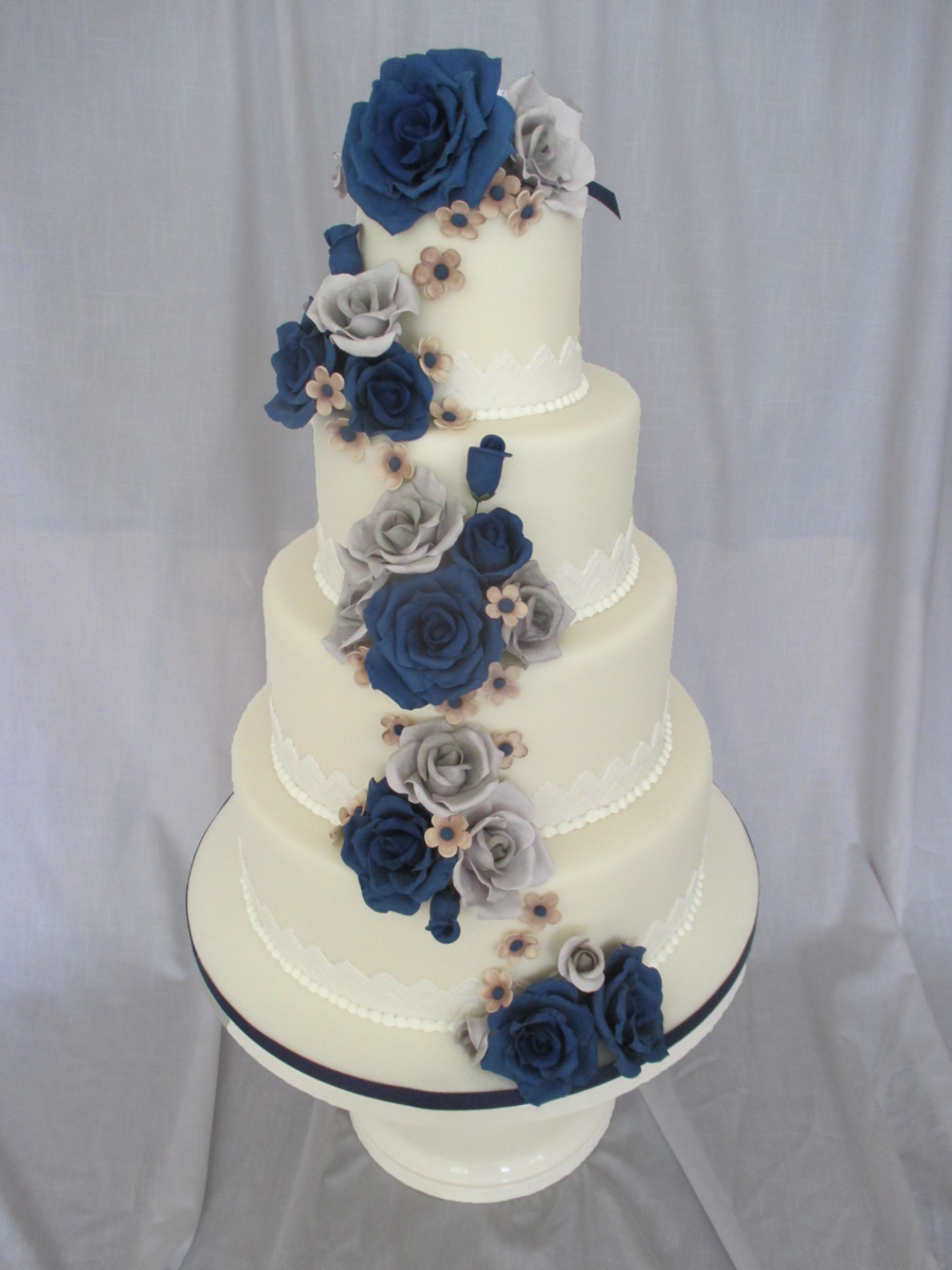 Blue White And Yellow Wedding Cakes