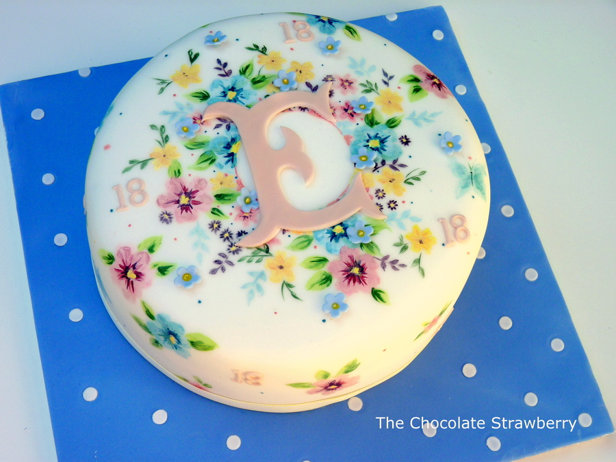 Hand painted spring flower cake cakecentral hand painted spring flower cake on cake central mightylinksfo