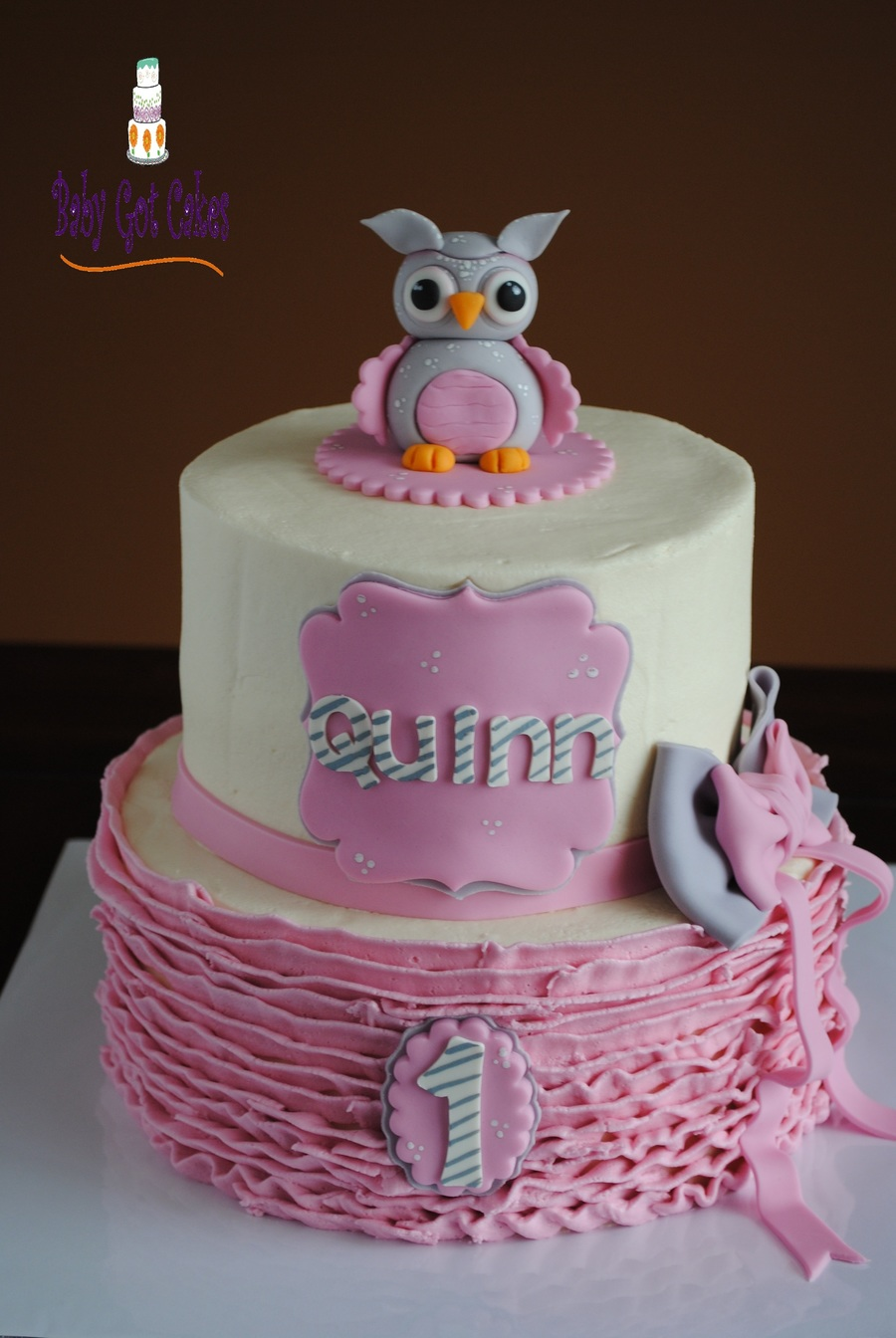 Pink, White & Grey Owl Two Tier on Cake Central