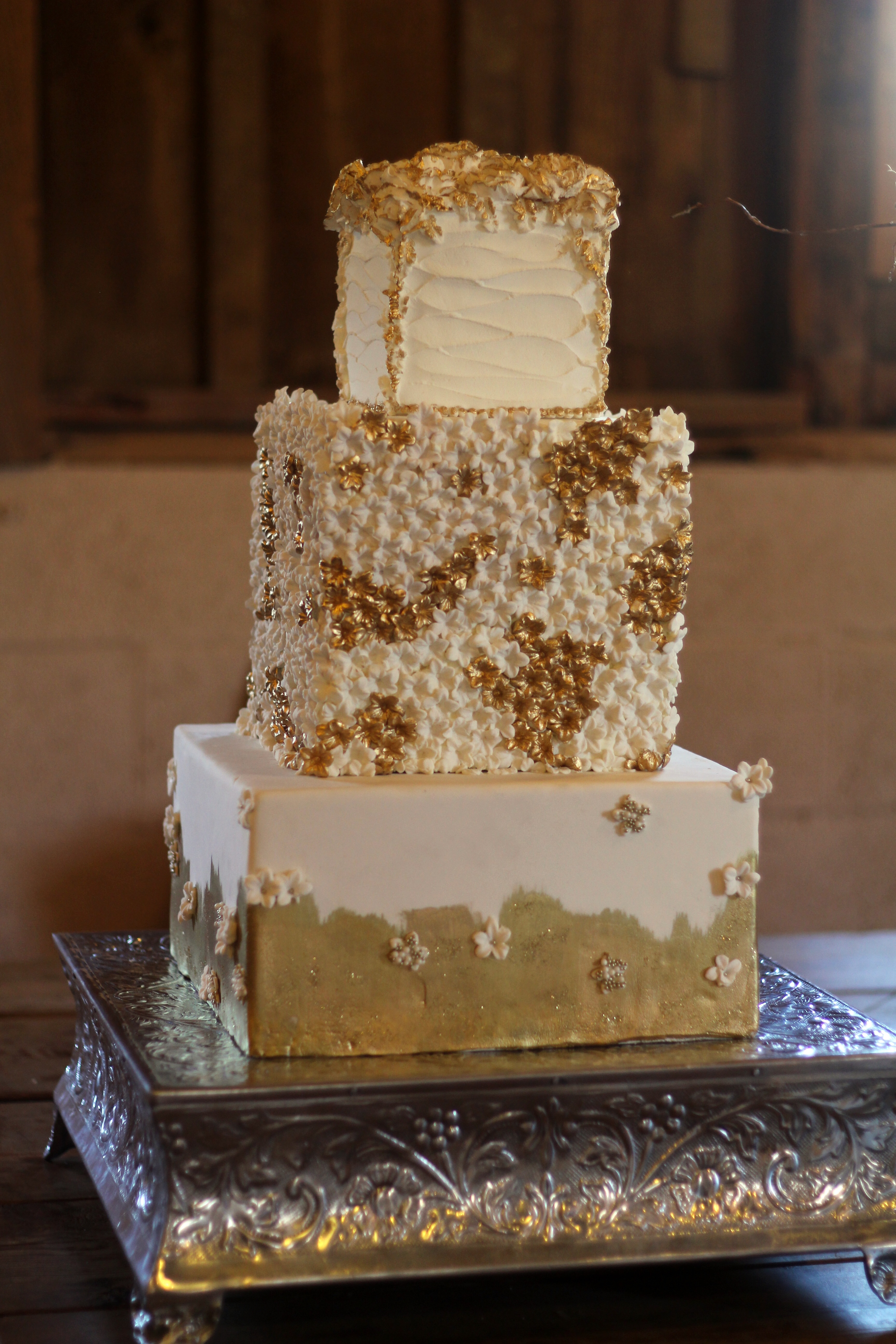 Square 3 Tier Wedding Cake In Gold And Ivory With Hundreds