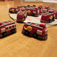 Fire Truck Cupcake Toppers   Fondant fire truck cupcake toppers for a little guys 2nd birthday party.