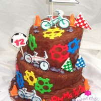 Bmx Cake  A topsy turvy BMX themed cake, its covered in brown fondant and then I took my palette knife and some icing and kept touching the sides...