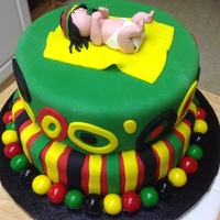 Rastafarian Baby Shower Cake Chocolate with fondant and gumballs.