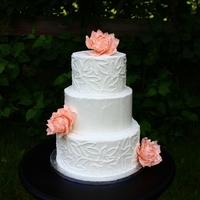 "10"", 8"", 6"", Display Cake Display cake iced with American buttercream. 3 medium gumpaste peonies."