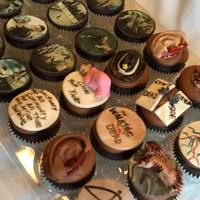 The Walking Dead Cupcakes 1/2 of the cupcakes have edible images and the other have painted fondant figures.