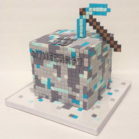 Minecraft 6in cube ganached with fondant paneled squares