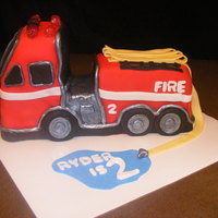 Fire Truck Birthday Cake 3D, fondant cover fire truck cake