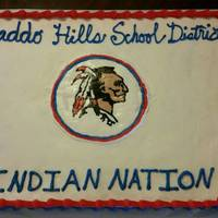 Caddo Indian Cake Vanilla cake with bc icing