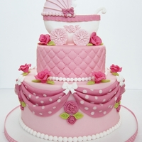 Baby Cake pink baby cake with pastillage baby-carriage .