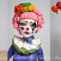 Sad Clown Topper She made from fondant and modeling chocolate mix with tylose powder, has a full wire support armature. No mold used, hand sculpted