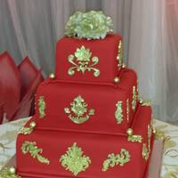 Red And Gold Wedding Cake - Unique Cakes   Red and Gold Wedding Cake - Traditional Indian Wedding