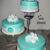 3Tiered Teal Cake For a Quinceanera