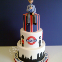 "London Calling! This cake was made for a chap who loves everything about London. The 8"" vanilla layer cake was hand painted, free hand, with the..."