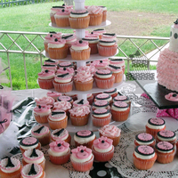 Paris Theme Cupcake Tower 75 cupcakes to go with cake