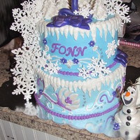 "Frozen For Fonn  I made this cake for my sweet granddaughter, Little Miss Fonn. She loves the movie, but her name ""Fonn"" also means Winter. So, I..."