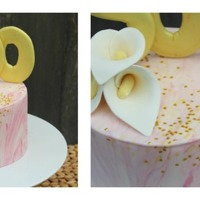 "500 Likes! Just a simple marble fondant-covered cake to celebrate {Sneaky} Cakes' 500th ""like"" on Facebook. Hardened fondant calla..."