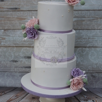 Wedding Cake Pink and purple roses