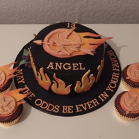 Hunger Games Cake I made this for my daughter's 13th birthday. It is chocolate cake with milk chocolate ganache. I airbrushed the ganache black as she...