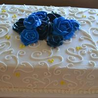 Blue Rose Wedding Cake  This is a simple little cake I did for a friend. She married a military man and wanted a cake to match the colors of his uniform. The cake...