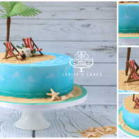Paradise Island Cake The deets....Deck chairs made from sugar flower paste using JEM deck chairs cutters. Found that putting in freezer for 9 mins helped with...