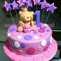 Forever Friends Bear Cake Made this cake for special little girl. Hand made the bear and cake topper out of fondant.