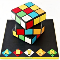 Rubik's Cube Cake Rainbow cake with white chocolate ganache