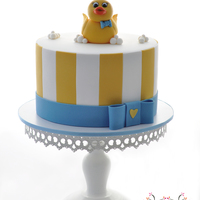 Baby Shower Cake Boys Baby Shower Cake. Duck made from fondant.