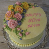 80Th Birthday   Sweet little cake make for a sweet lady who likes pink and yellow roses, All buttercream decorations