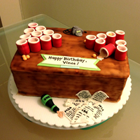 Beer Pong Birthday Cake White velvet butter cake with chocolate neoclassic buttercream. Decorated with fondant.