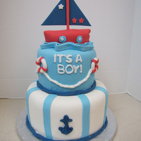 Sailing Baby Shower Cake Copied this from a cake on Pinterest for a baby shower.