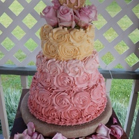 Rehearsal Dinner Cake   Buttercream ombre pink and ivory rosette cake