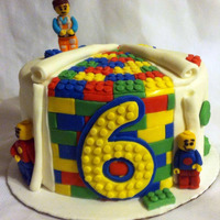 Lego Cake For A Birthday Fondant covered buttercream cake with handmade fondant figures. I made this for my cousin. :-)
