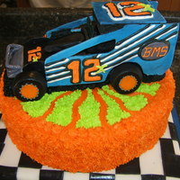 Race Car Cake   Car is all fondant!!!