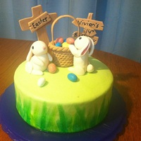 Easter Birthday Cake   Faux fondant buttercream covered cake with brush paint. gumpaste bunnies, basket, sign and cross. with robin eggs as easter eggs