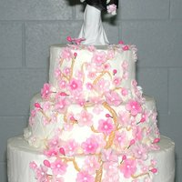 Cherry Blossom Wedding Cake This cake was based on a weeping cherry tree in the bride's mother's yard. Butter cream with fondant blossoms and buds. Each...
